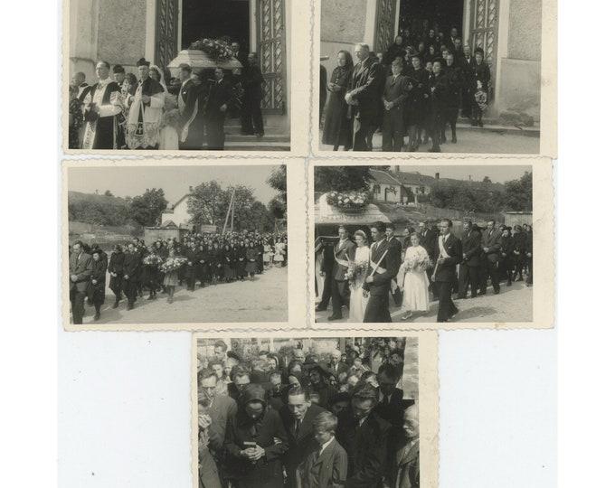 Funeral Procession, Blansko, 1944 [Former Czechoslovakia]Set of 5 Vintage Snapshot Photos [811744]