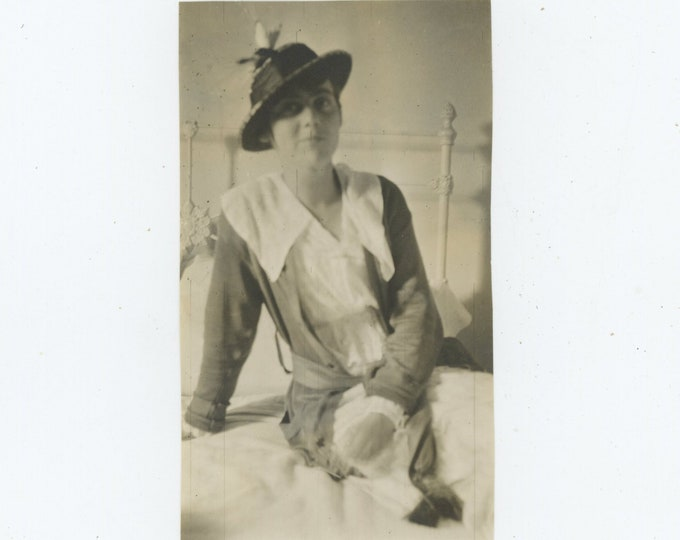 Vintage Snapshot Photo: Young Woman on Bed, c1910s-20s (88713)