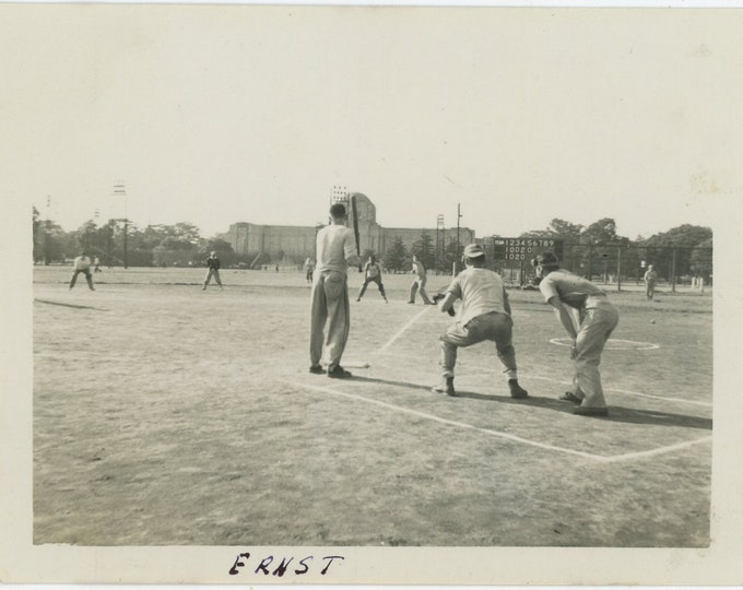 Vintage Snapshot Photo: Baseball Game, c1940s (88710)