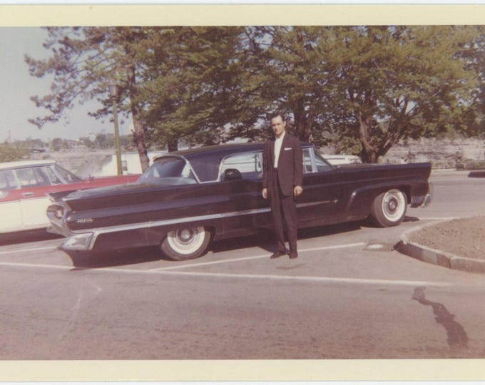 Vintage 1962 Kodacolor Print Snapshot Photo: c1958 Lincoln Premier (81636]