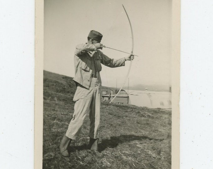 Vintage Snapshot Photo: Soldier with Bow & Arrow(88712)