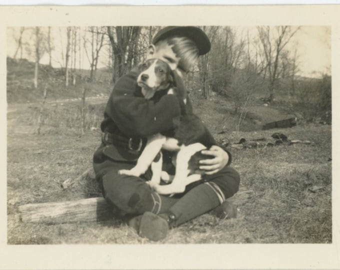 Vintage Snapshot Photo: A Boy and His Dog, c1930s [811744]