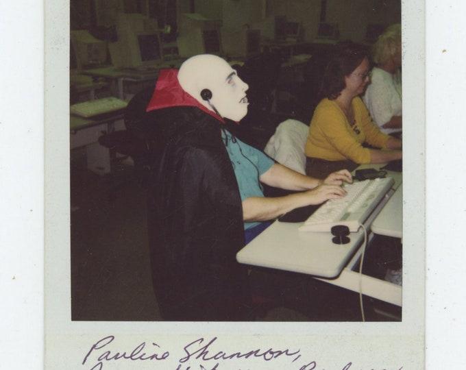 Vintage SX-70 Polaroid Snapshot Photo: Computer Lab (89720)