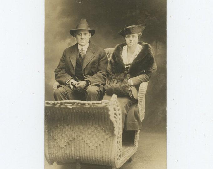 Atlantic City, NJ Boardwalk: Souvenir Studio Portrait of Couple in Rolling Chair, c1910s-20s  (88713)