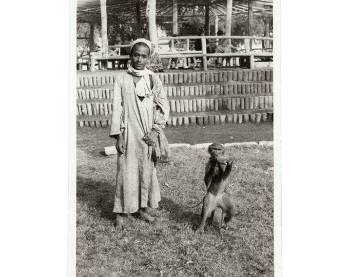 Bedouin Boy with Monkey, c1950s Vintage Snapshot Photo [811744]