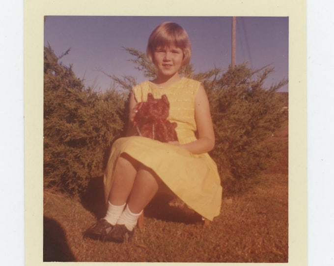 Vintage Snapshot Photo: Girl in Yellow Dress, c1950s-60s (71541)