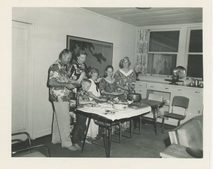 "Vintage Snapshot Photo: ""Christmas, 1957 [Jim, Ruth, Jimmy, Jeannie, Jennifer, Judy]"" [81646]"