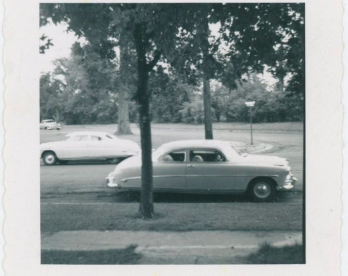Vintage Snapshot Photo: Twin Hudson Hornets Parked on Street, c1950s [812760]