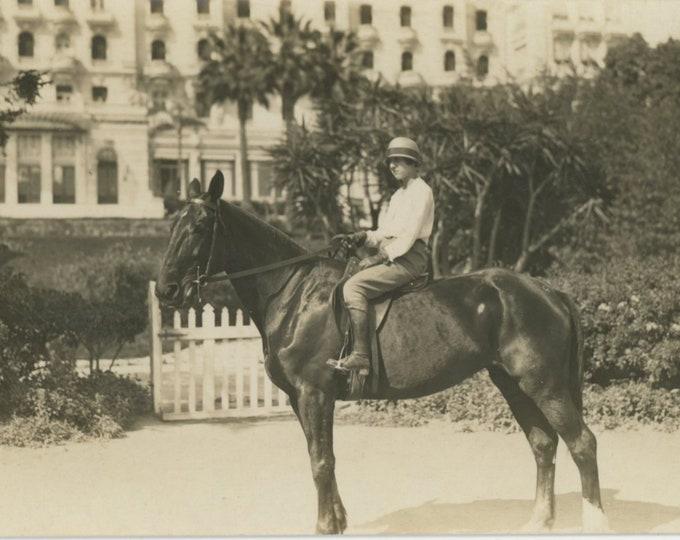 Vintage Snapshot Photo: Greece, 1930s. Horsewoman (88715)