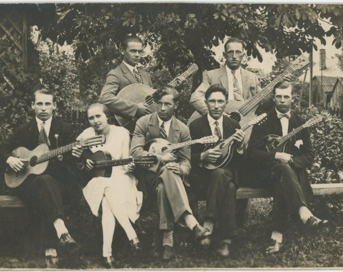 Vintage Snapshot Photo: Mandolin Orchestra, Riga, Latvia, 1928 [89720]