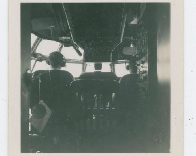 Vintage Snapshot Photo: Flight Deck, 1940s [91766]