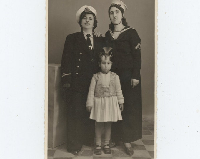Vintage Studio Portrait Photo: Greece, 1930s. Two Women Cross-Dressed as Sailors with Child in Traditional Dress [89727]