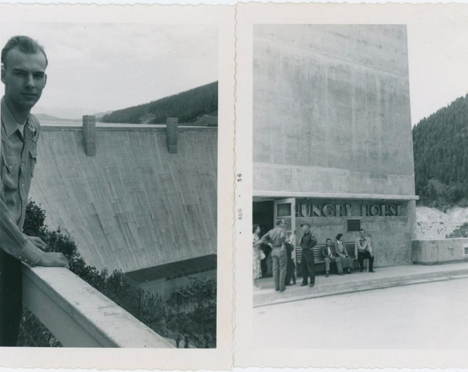 Two Vintage Snapshot Photos [Diptych]: At Hungry Horse Dam, 1956 [810736]