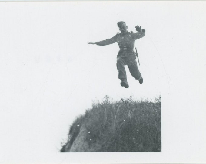 Vintage Snapshot Photo: Leaping Soldier, 1968 [89726]