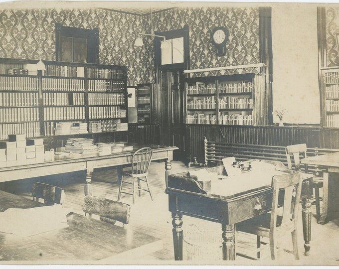Kinsman Library Interior, Ohio, Early 1900s: Vintage Photo [89721]