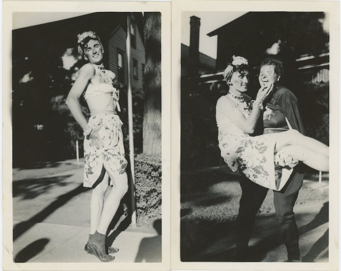 Two Vintage Snapshot Photos [Diptych]: Role Reversal; Cross-Dressed Couple [811738]