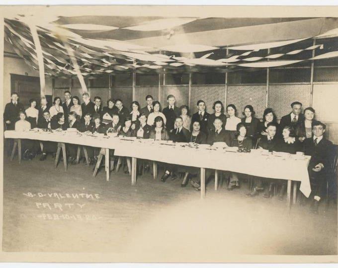 B-D Valentine Party, Feb 10, 1920: 5x7 Vintage Snapshot Photo (78598)