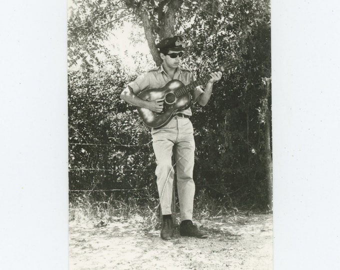 Vintage Snapshot Photo: Guitar Player, Greece, c1960s [86693]