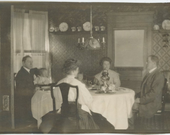 Vintage Snapshot Photo:Tea Time, Samovar, Early 1900s [89725]