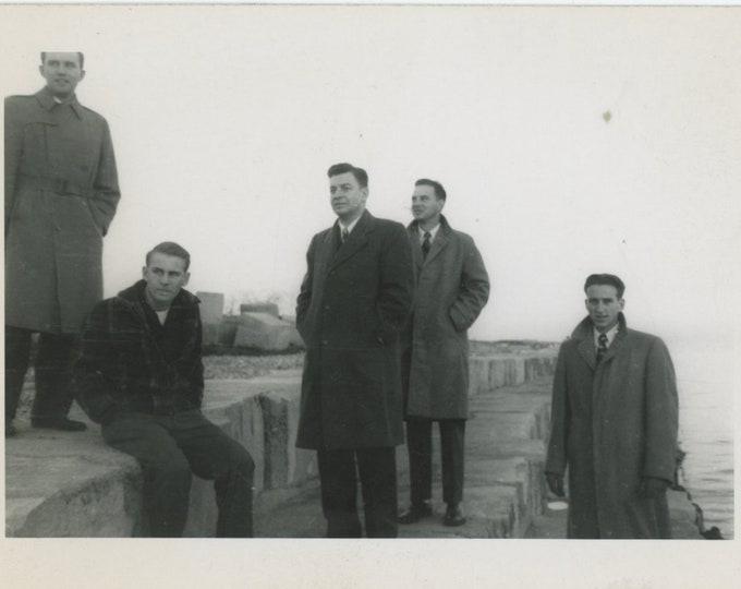 Vintage Snapshot Photo: Five Men in Overcoats [86692]