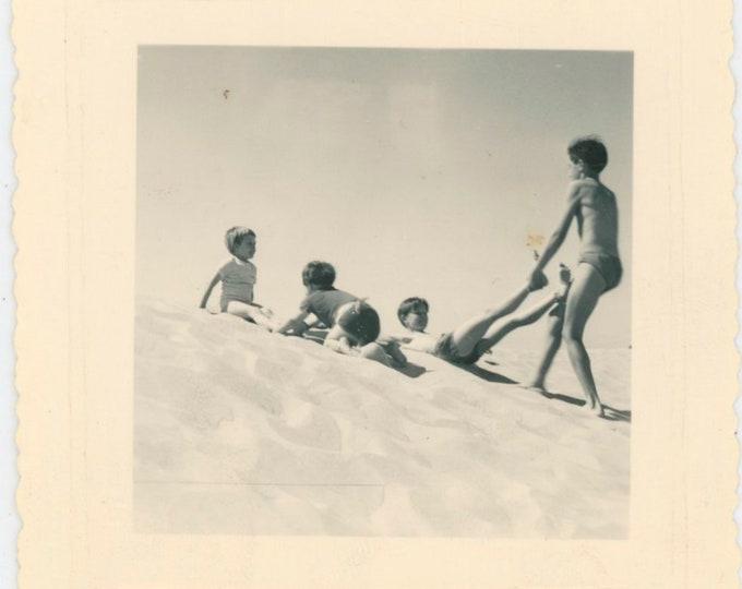 Vintage Snapshot Photo: Children Playing on Sand Dunes [812756]