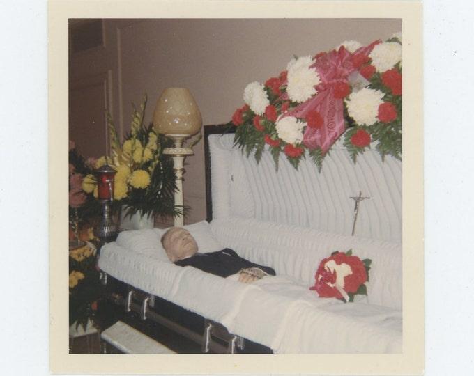 Vintage 1968 Kodacolor Print Snapshot Photo: Open Casket Post Mortem (72551)