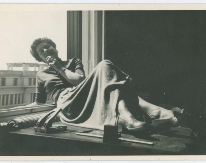 Desk Pose, Cairo, Egypt, c1940s Vintage Snapshot Photo [91769]