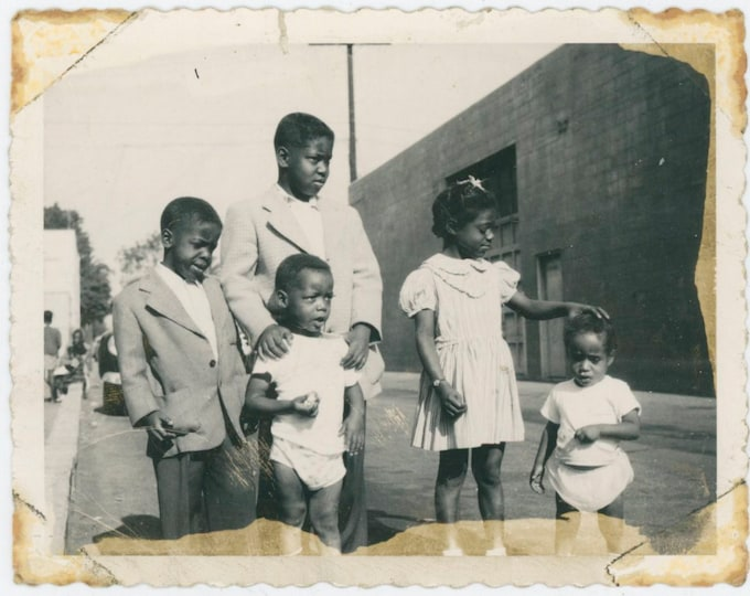 1957 Polaroid Vintage Snapshot Photo; Five African American Children [91767]