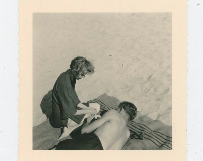 Vintage Snapshot Photo: Young Couple at the Beach, 1954 [91763]