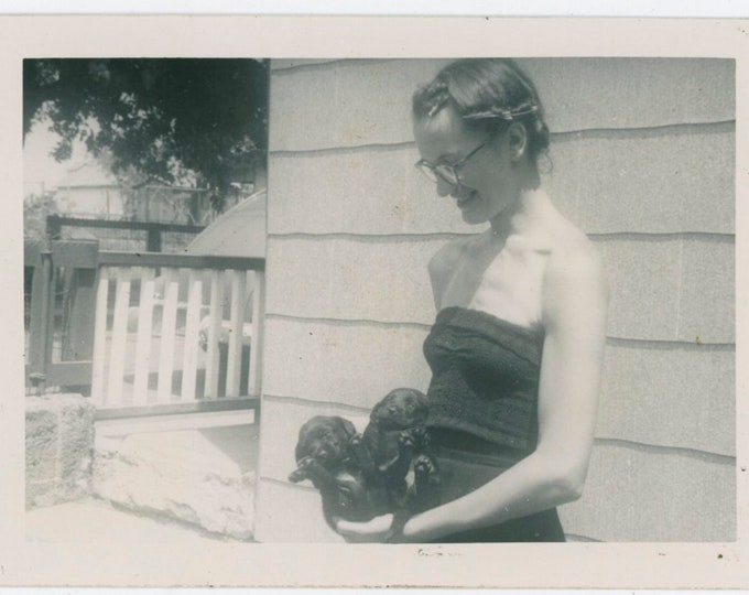Vintage Snapshot Photo: Teenage Girl with Puppies, c1940s [91765]