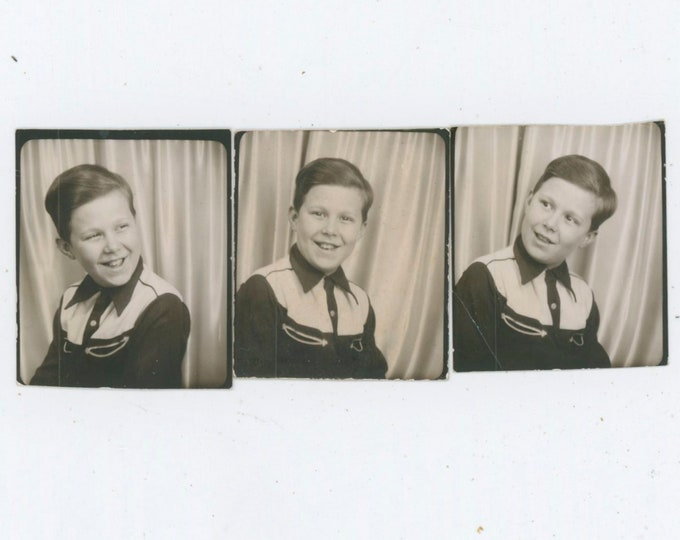 Set of 3 c1940s Vintage Arcade/Photo Booth Poses: Boy in Cowboy Shirt [812761]