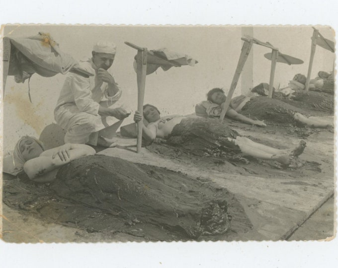 Saky, Crimea, 1934. Women Enjoying Spa Mud Baths. Attendant with Timer/Watch: Vintage Snapshot Photo [89724]