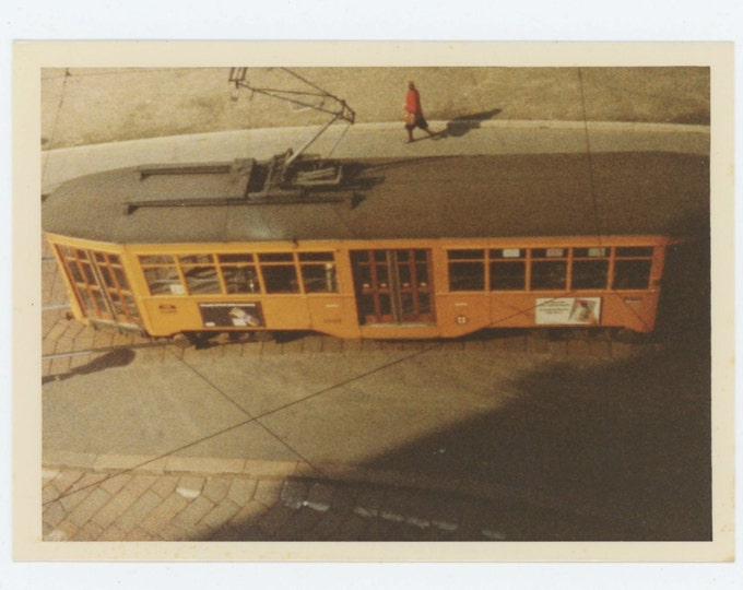Vintage Snapshot Photo: Trolley Car, Pedestrian (612531)