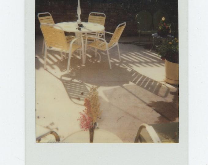 Vintage SX-70 Polaroid Snapshot Photo: Yellow Patio Set (88712)