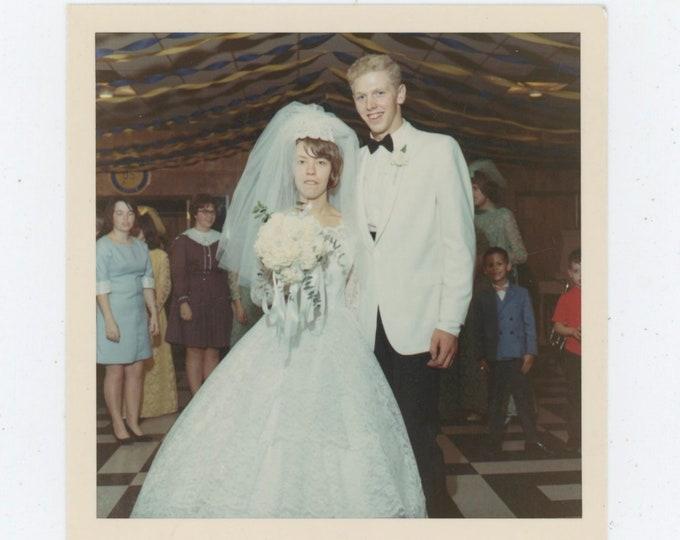 1968 Kodacolor Print Vintage Snapshot Photo: Teenage Bride & Groom [91763]