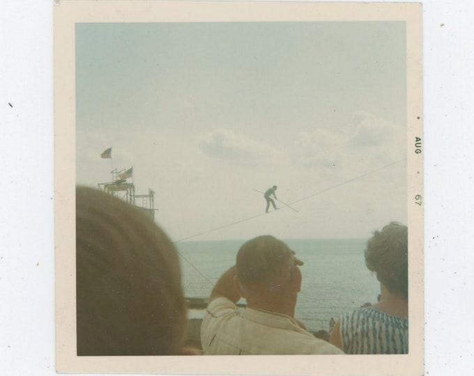 Tightrope Walker, Steel Pier, Atlantic City, 1967: Vintage Snapshot Photo [91762]
