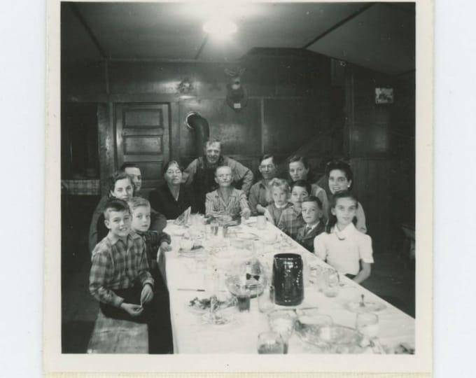 Family at Dinner Table: Vintage Snapshot Mini-Photo, c1940s (71536)
