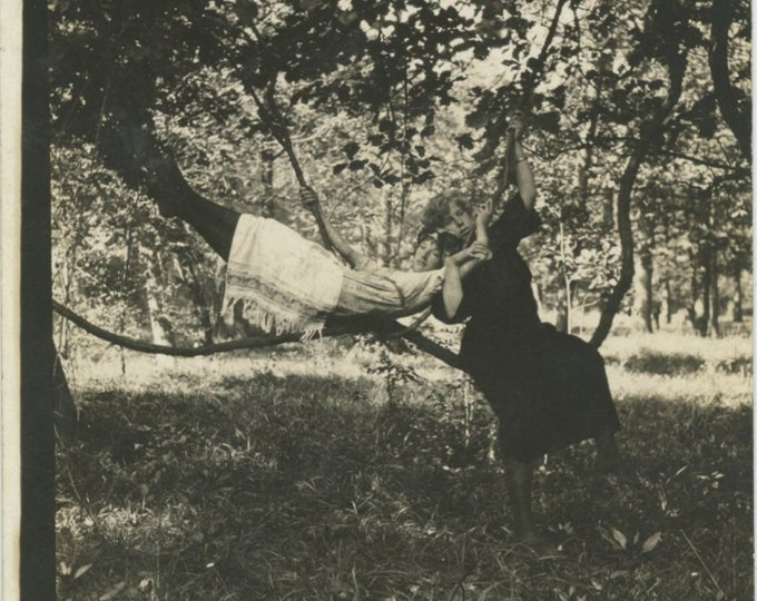 Two Gals in a Tree, c1910s: Vintage Snapshot Photo [811742]