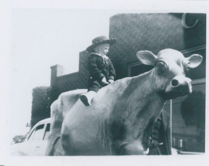 Vintage Snapshot Photo: Cow Boy [91768]