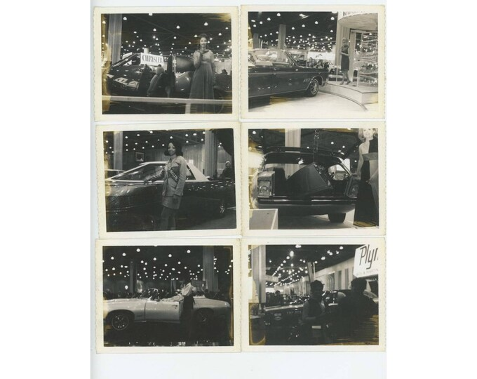 Set of 6 Vintage Polaroid Photos Car Show c1967? Chrysler Plymouth (79607)
