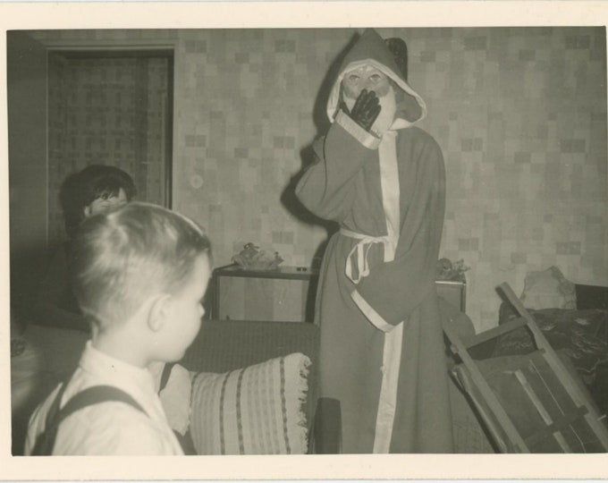 Vintage Snapshot Photo: Santa in Mask [85676]