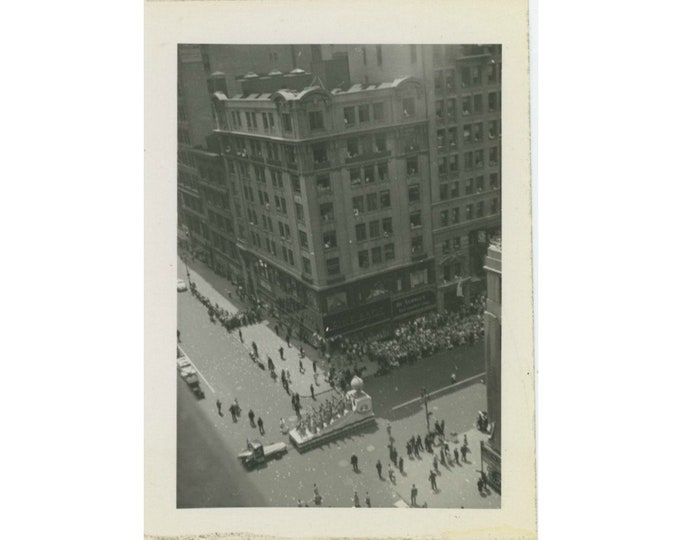 Vintage Snapshot Photo: Bird's Eye View of Parade, c1940s [811743]