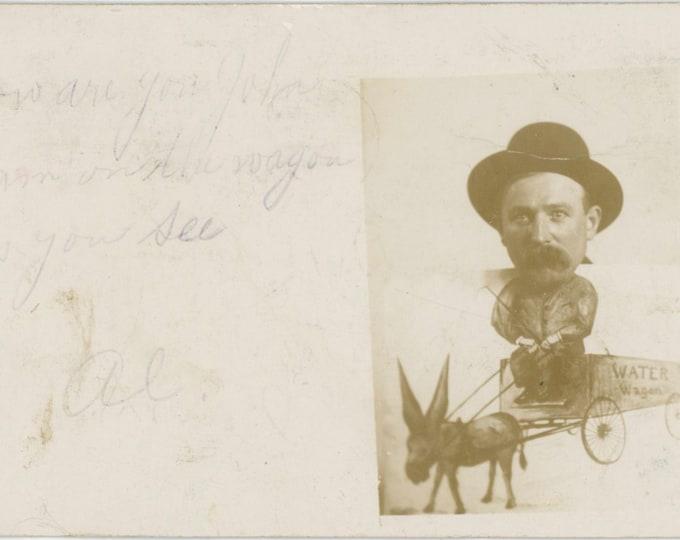 1907 Water Wagon Arcade Prop: Vintage Portrait Photo RPPC [811746]