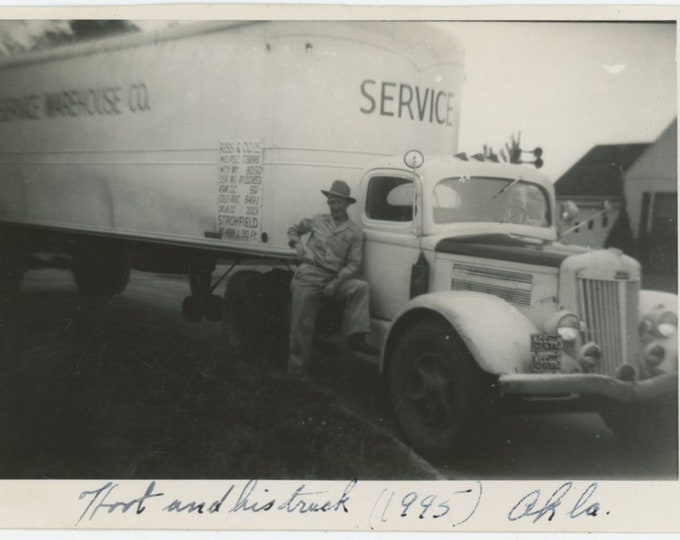 Vintage Snapshot Photo: Trucker, Oklahoma, 1945 [89720]