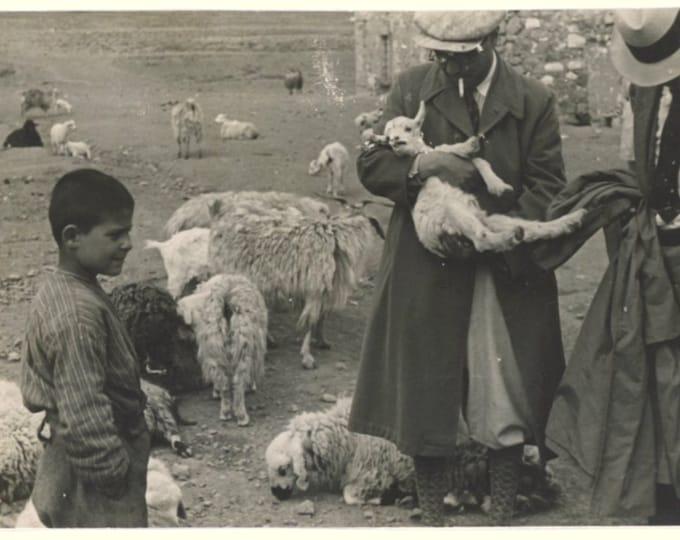 Vintage Snapshot Photo: Sheep Traders, Turkey, 1940s [89726]