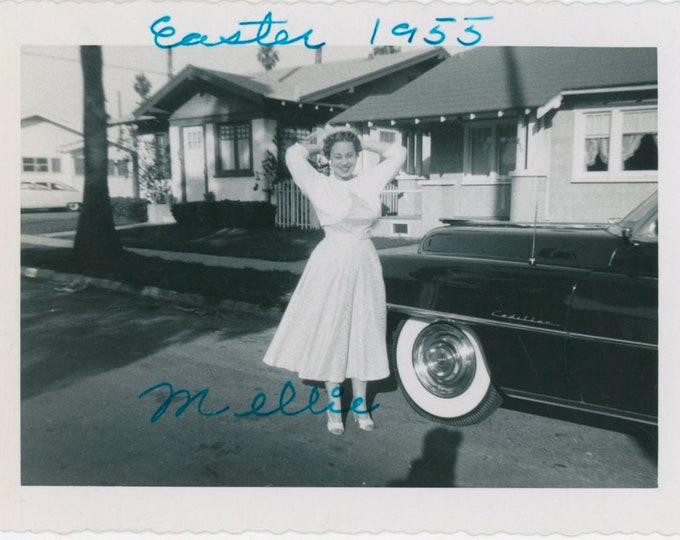 """Vintage Snapshot Photo: """"Millie, Easter 1955"""" [With Cadillac][811745]"""