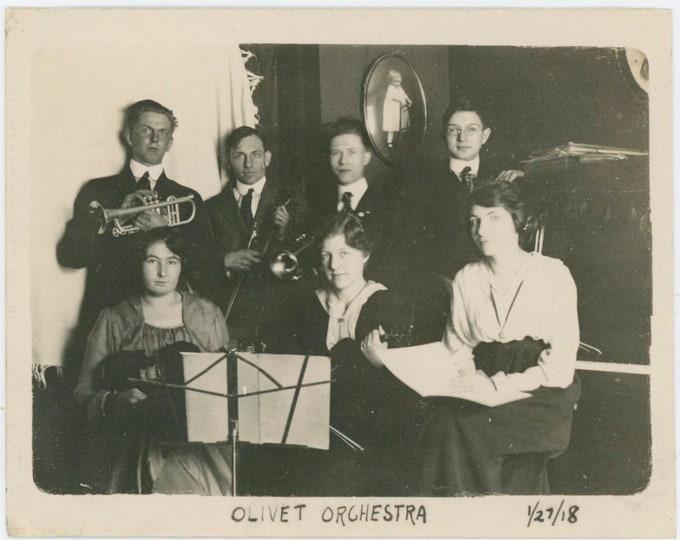 "Vintage Snapshot Photo: ""Olivet Orchestra, 1/27/1918 [812759]"