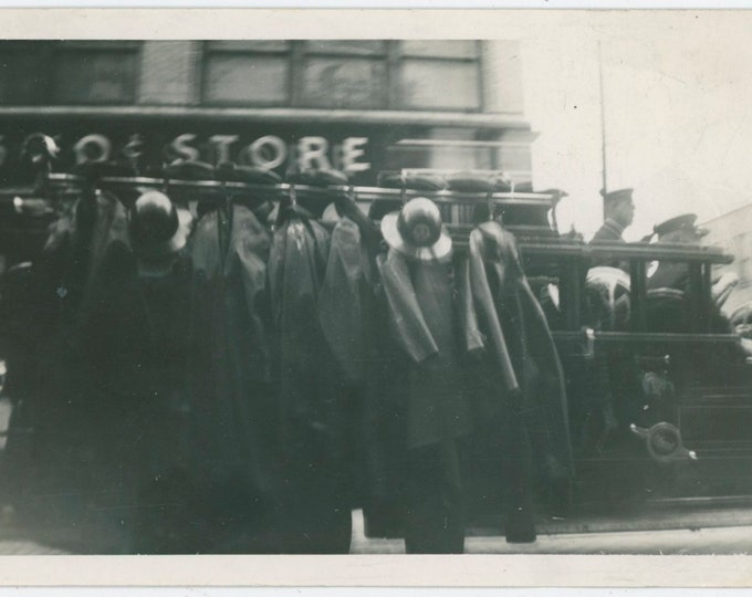 Fire Truck, Five and Dime Store, c1920s-30s: Vintage Snapshot Photo [812759]