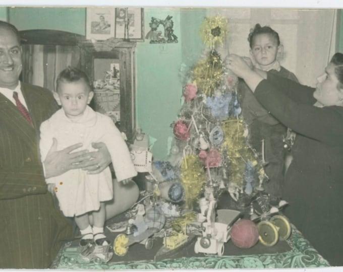 Vintage Hand-Tinted Snapshot Photo: Family Around Xmas Tree, Greece, 1956 [811750]