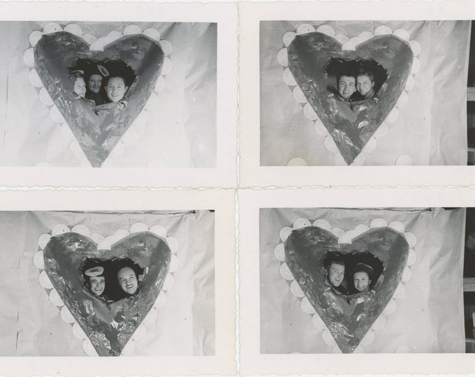 Set of 4 Vintage Snapshot Photos: Couples in Heart Cut-Out Props, c1940s [811743]